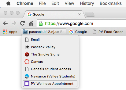 PV students can now access the Wellness Center website from their bookmarks.