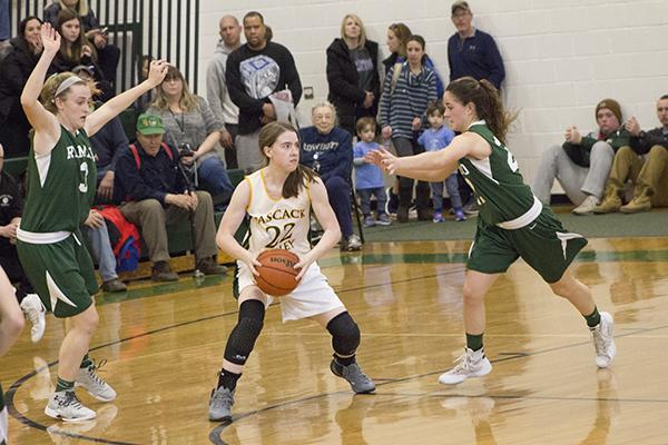 Shannon Culloo (22) against Ramapo in the semifinals of the North 1 Group 3 tournament. Culloo has been an anchor defensively and on the glass for PV during its recent run.