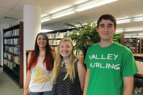 From left to right, The Smoke Signal's editorial staff, which has been instrumental in adopting the newspaper's new online format:  Gina Romana, Co-Editor-in-Chief; Vanessa Rutigliano, Managing Editor; Justin Cook, Co-Editor-in-Chief
