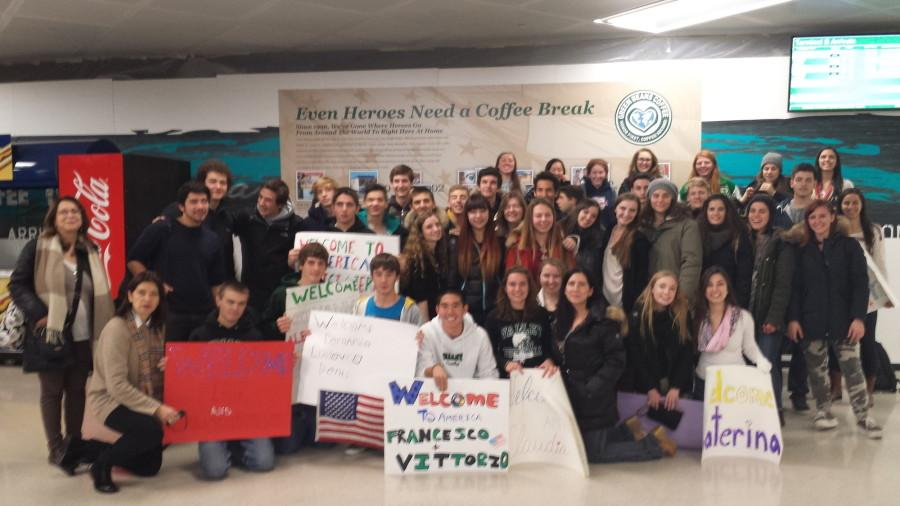 Member of last year's Italian Exchange program gather for a photo op. The Italian students in this year's program arrive at PV Friday.