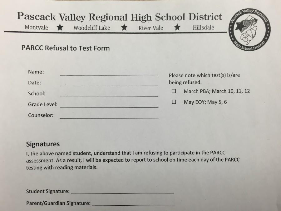 Students need to return a form (pictured) filled out with parental signatures in order to refuse to take the PARCC tests, which begin Tuesday.