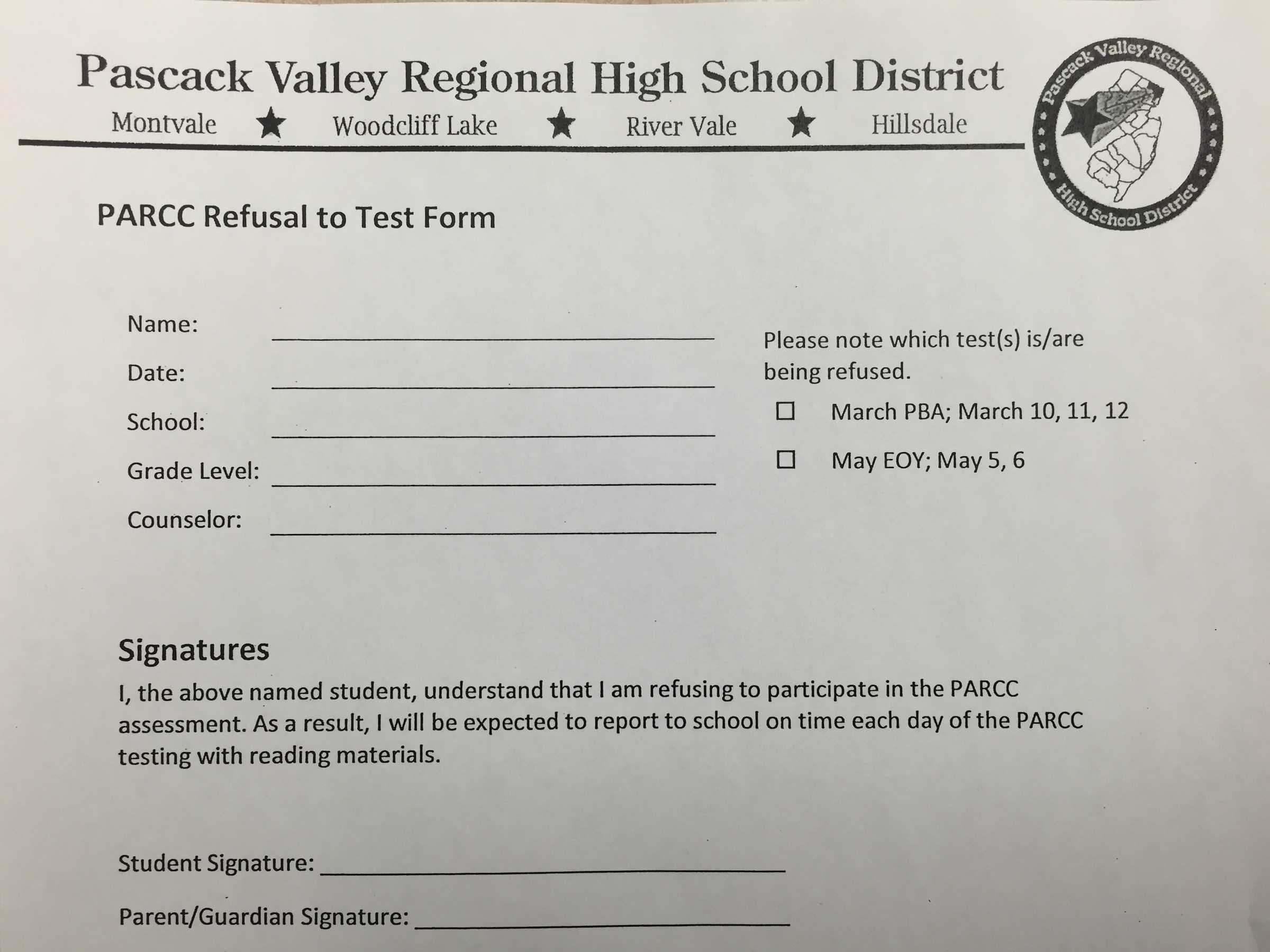 Handful of students refuse to take PARCC test – The Smoke Signal