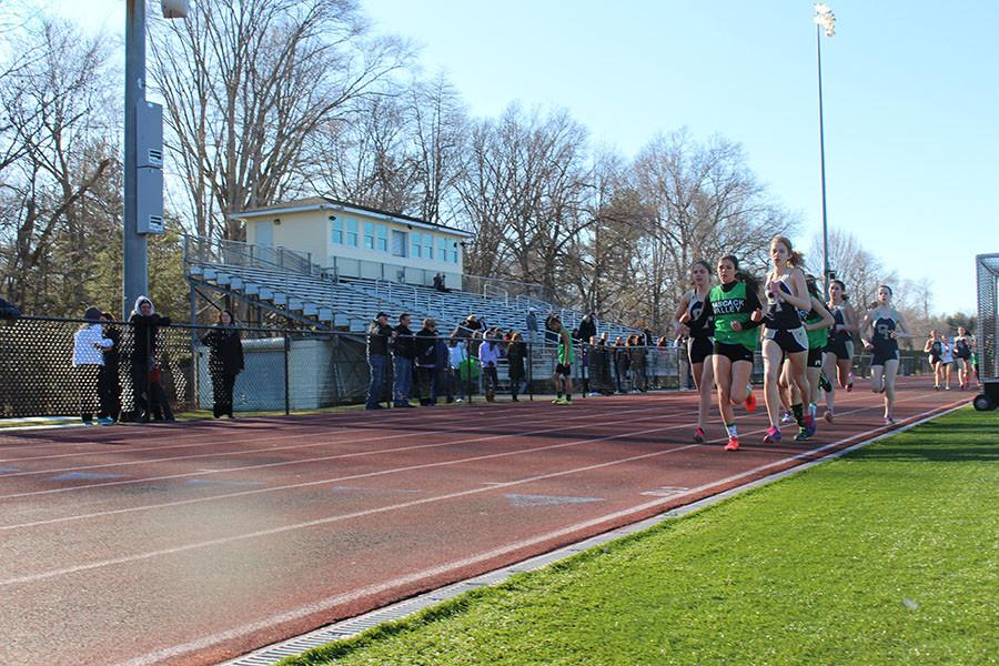 Evans, in front, during  spring track season. Evans was a model of consistency for PV during the cross country season.