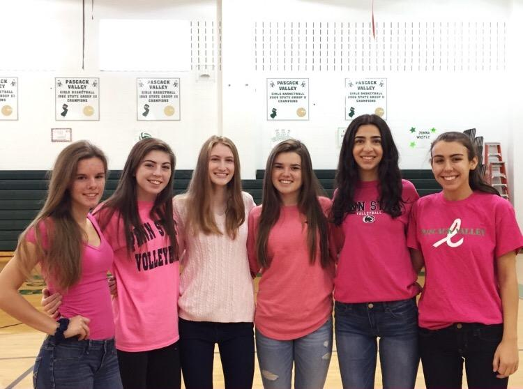 From left to right: Seniors Abby Lee, Grace Twomey, Jenna Westley, Caitlin Earls, Colette Dabaghian, and Kat Grammatikos