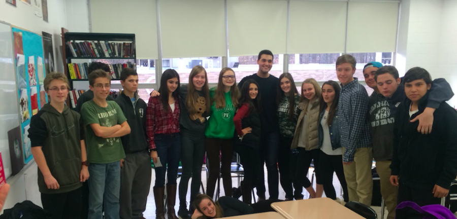 Brandon Alvarado shares his experiences about writing a book with Mrs. Valerie Mattessichs freshman English class.