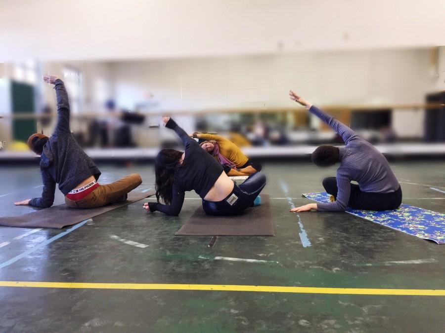 Ms. Francesca Silvano leads Pascack Valley students in yoga during her Pascack Period class.