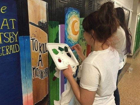 Photo essay: PV students paint murals of book spines