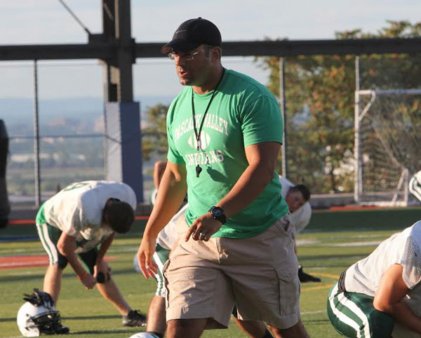 Len Cusumano, Pascack Valley's newly-named head football coach, leads a practice.