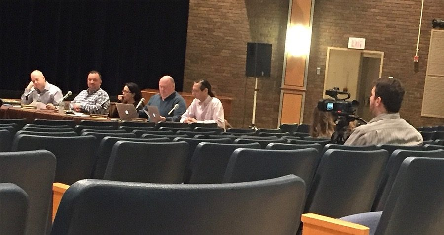PV's Video Production teacher, Mr. Michael Sherman, records the Board of Ed meeting Monday to test out the filming equipment.