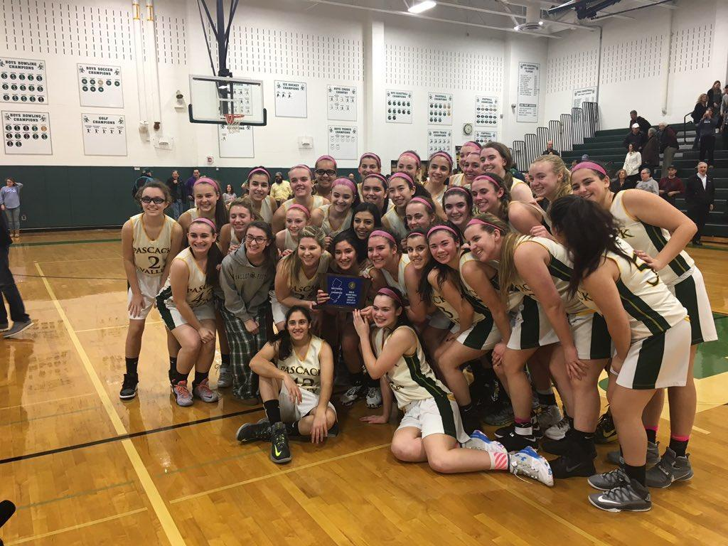 The Indians pose with their North 1 Group 3 trophy after their 70-42 win over rival Old Tappan in the final of the North1 Group 3 tournament. PV was led by Brianna Wong, who totaled 25 points, including 18 in the second half. PV takes on Somerville, winners of section North 2 Group 3 on Thursday at 7 p.m. at Ramapo High School.
