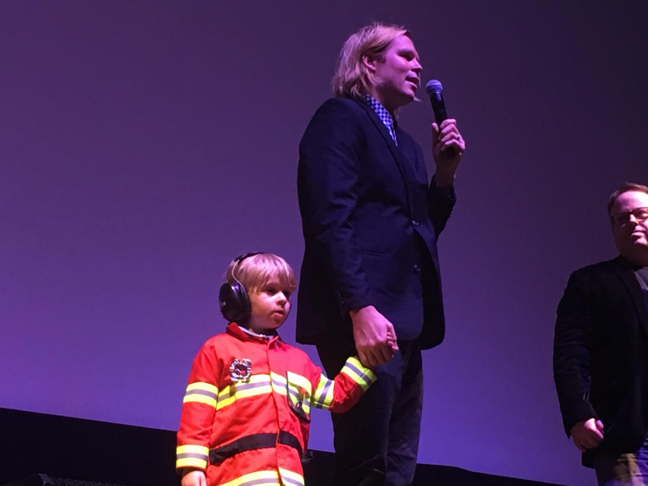 Geremy Jasper and his son after the Montclair Film Festival screening of