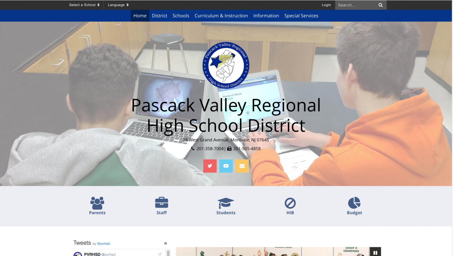 A screenshot of the redesigned website. After months of debate, the district launched the new website on June 9.