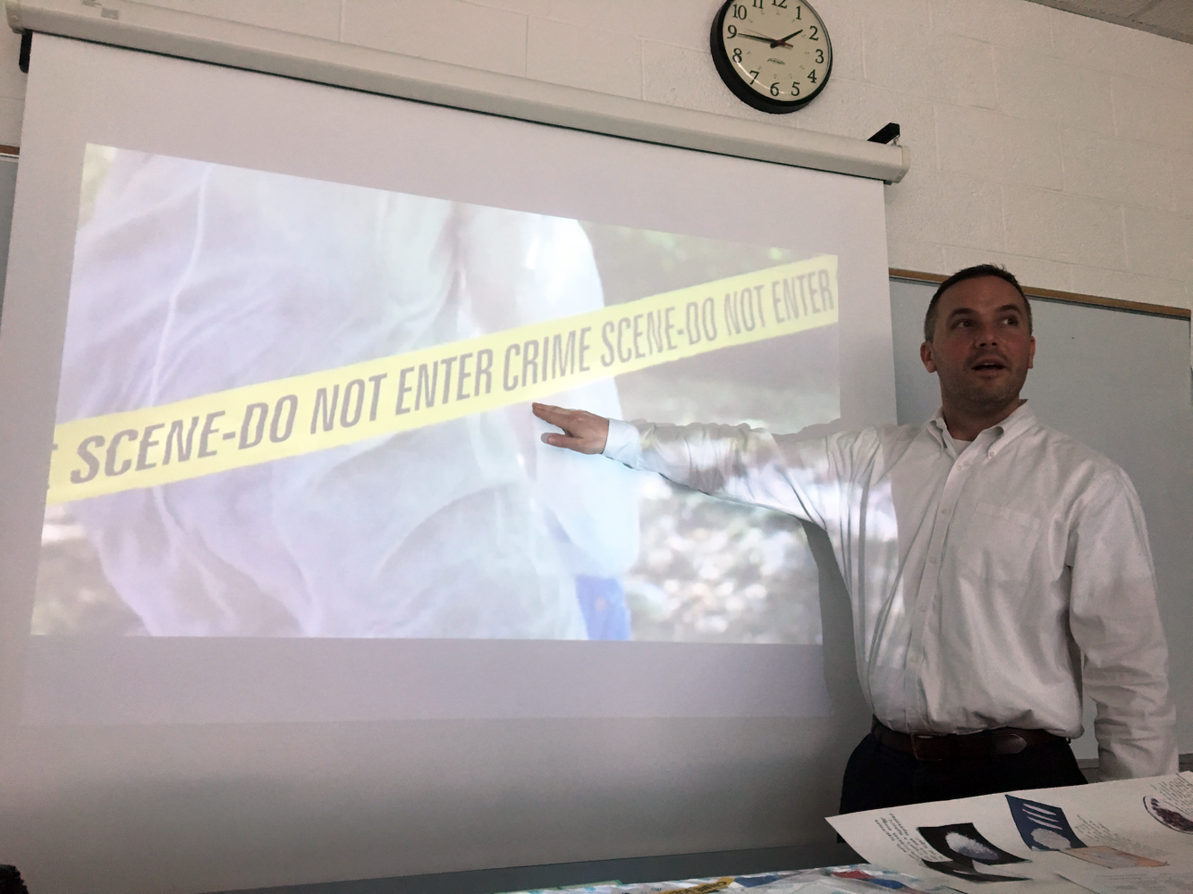 Mr. Russ Grier teaches his Forensics class. Forensics is one of many dual enrollment classes that students can already take at PV.
