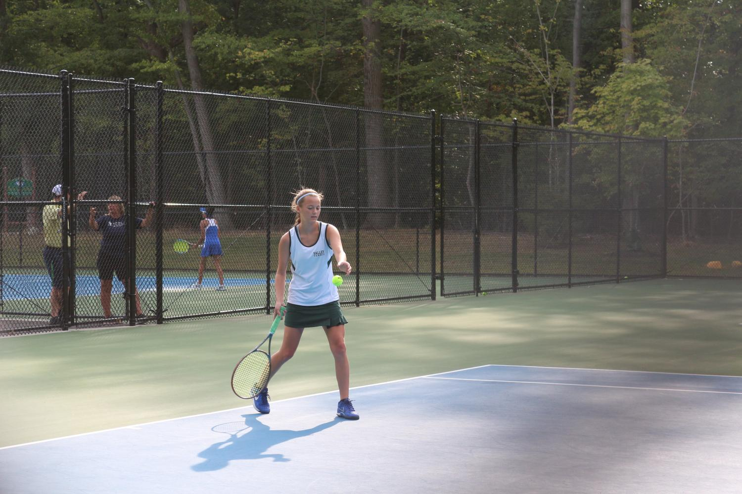 Melanie Brentnall prepares to hit the ball during a match last season. Brentnall will play second singles this season.