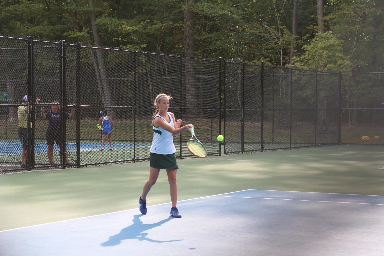 Melanie+Brentnall+hits+a+forehand.+Brentnall+is+among+the+returning+players+for+Pascack+Valley%2C+who+finished+4-12+this+season.+