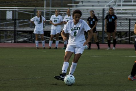 Junior Arianna Quevedo controls the ball against Mahwah.  Quevedo and the girls soccer team will try to continue their strong play this week.