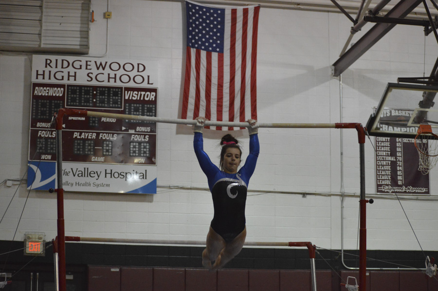 Melissa Ricciardi competes on the bars last year. She will lead PVRG as a senior in 2018.