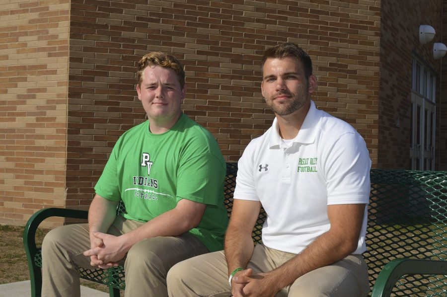 Jimmy Alburtus (left) and Mark Vetterlein are two of the volunteer coaches for the football team.
