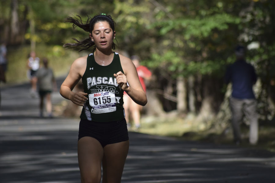 Olivia Catalano during a race last year. She is one of the senior starters on the PV Cross Country Team