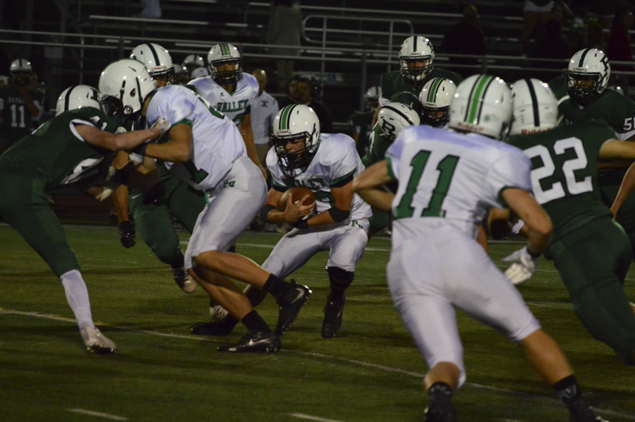 Greg Zoll looks for room to run against Ramapo in Week 4.  Pascack Valley will face Ramapo in the first round of the North 1, Group 3 Playoffs on Friday.