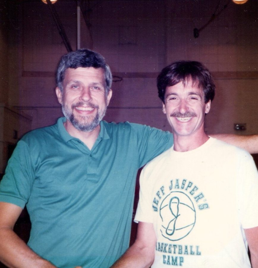 Joe Poli, left, and Jeff Jasper pose together in 1985. The PV Christmas Tournament was renamed to the Joe Poli Memorial Holiday Tournament in order to commemorate the late principal and Jasper's friend.
