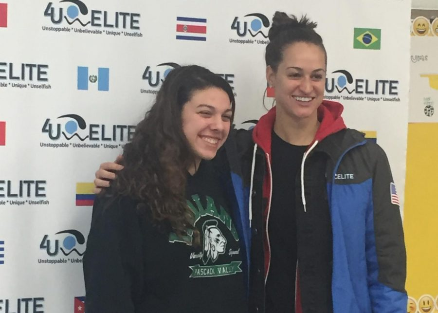 Haleigh+Marzano+%28left%29+poses+with+Team+USA+swimmer+Megan+Romano.+Romano+surprised+Marzano+by+inviting+her+to+swim+with+her+at+a+clinic.