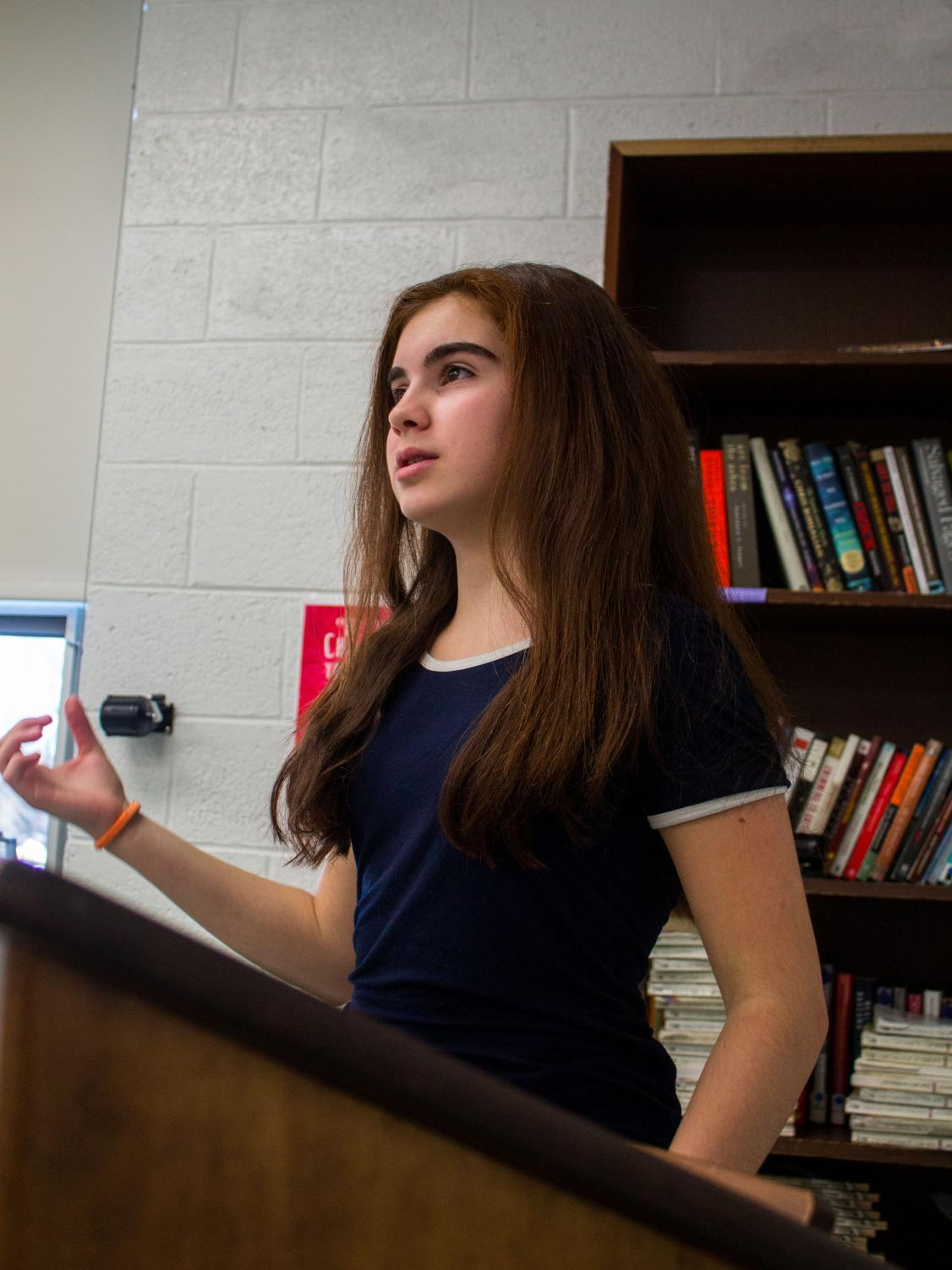 PV freshman Ava Devincenzo practices her memorized poem. She will be competing in a regional poetry contest.