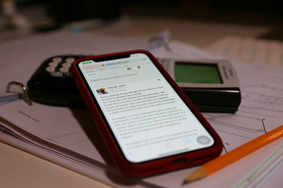 An email was sent to the school about cell phone use during instruction time among freshmen and sophomore classes. Students and teachers have both reported this issue seen during classes.