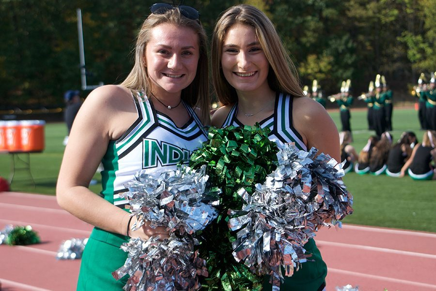 Gabby+LoPiccolo+and+Shannon+Donnelly+dress+up+as+cheerleaders+during+the+homecoming+football+game.+Donnelly+discusses++her+transition+into+college+and+the+emotions+that+come+from+it.+