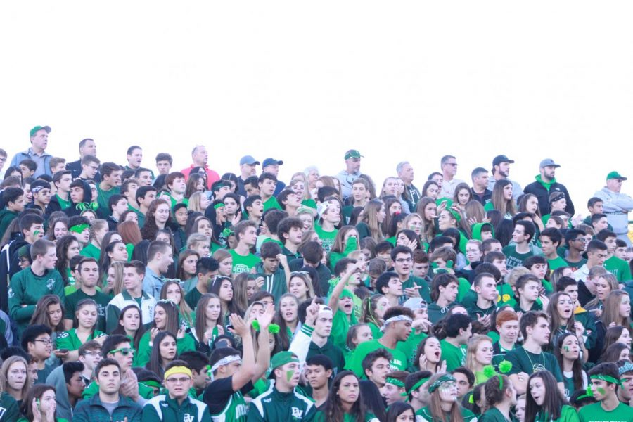 Pascack+Valley+students+and+fans+cheer+at+a+recent+football+game.+