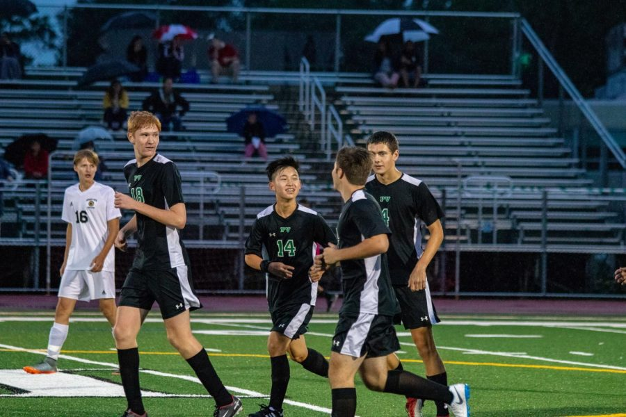 Nate Dedrick, Glendon Chin, Aidan Raleigh, and Jake Wolf on the field from  a game this past season. The Indians finished the year with a 7-10 record.