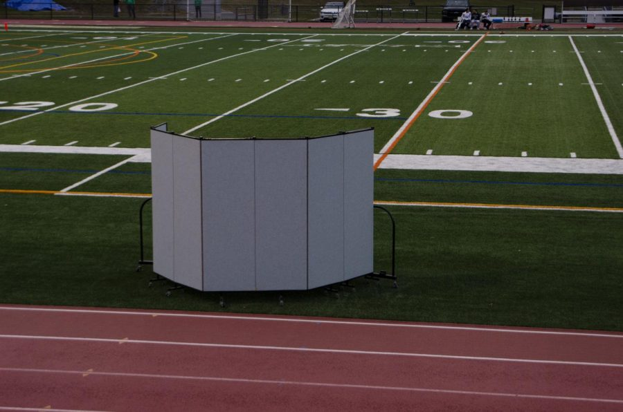 Pascack Valley's instant replay booth as seen from the stands prior to the game against Ramapo on Friday.