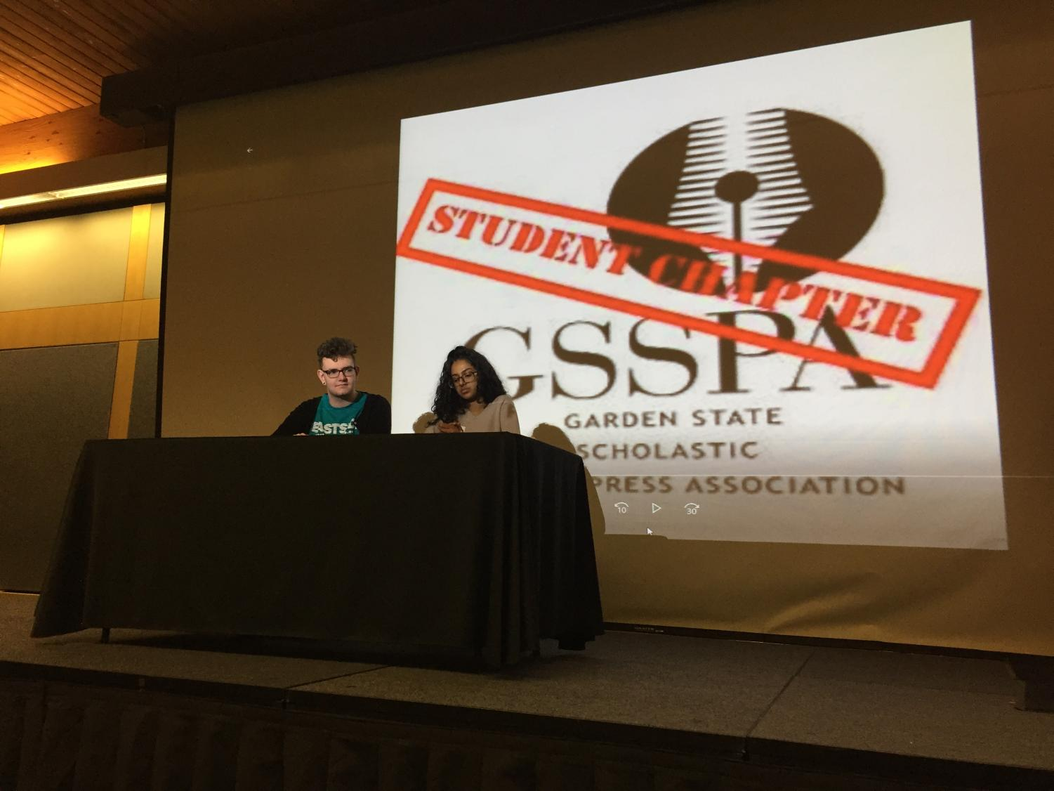 Aine Pipe, editor of Eastside High School's newspaper and member of the Student Chapter of New Voices and Marlyum Rizwan, co-editor of Bergenfield High School's newspaper present during the conference session,