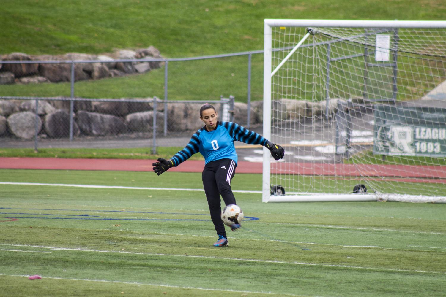 PV senior goalie Julia Spadafino kicks the ball for the Indians. Valley finished its 2018 season at 12-6-1 and an appearance in the quarterfinals of the state tournament.