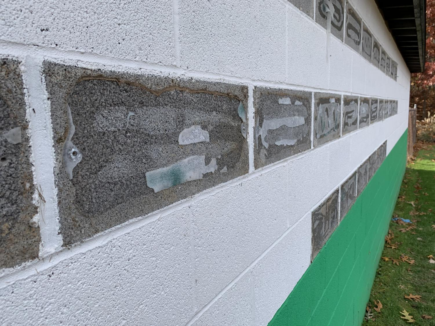 The plaques behind the third base baseball dugout were removed Wednesday morning. Pascack Valley Regional High School District Superintendent Erik Gundersen informed the Pascack Valley community in an email.
