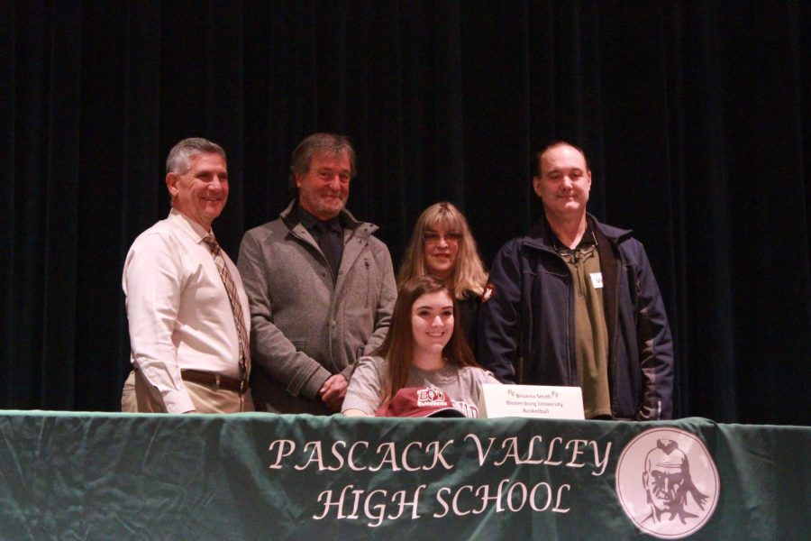 Brianna+Smith+alongside+her+parents%2C+PV+coach+Jeff+Jasper%2C+and+PV+principal+Tom+DeMaio.+Smith+will+play+basketball+at+Bloomsburg+University.+