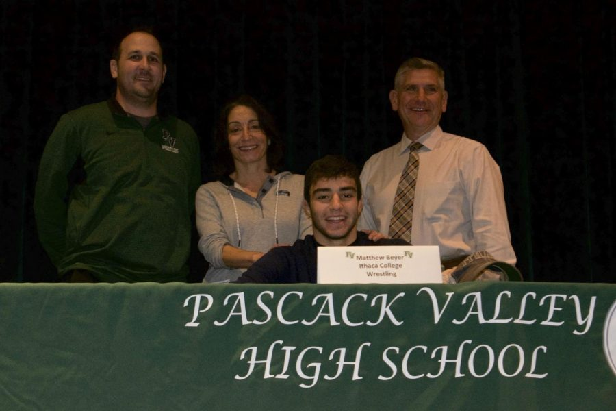 Matt+Beyer+alongside+his+mother%2C+PV+wrestling+coach+Tom+Gallione%2C+and+PV+principal+Tom+DeMaio.+Beyer+will+wrestle+at+Ithaca+College+next+year.+