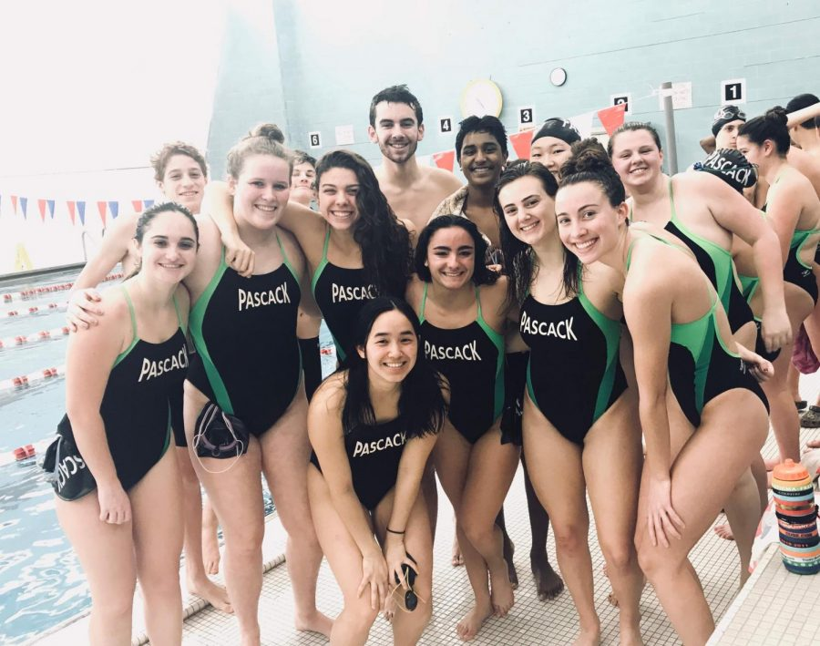 Many+of+Pascack%27s+swimmers+pose+for+a+photo+last+season.+After+losing+many+seniors+to+graduation%2C+Pascack+will+look+for+many+underclassmen+to+gain+experience+this+season.