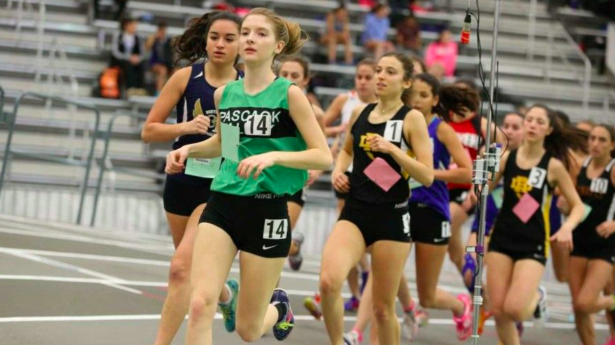 Kate+Henderson+runs+for+Pascack+Valley+during+a+winter+track+meet.++She+returns+as+a+key+senior+for+the+Indians+in+2018.+