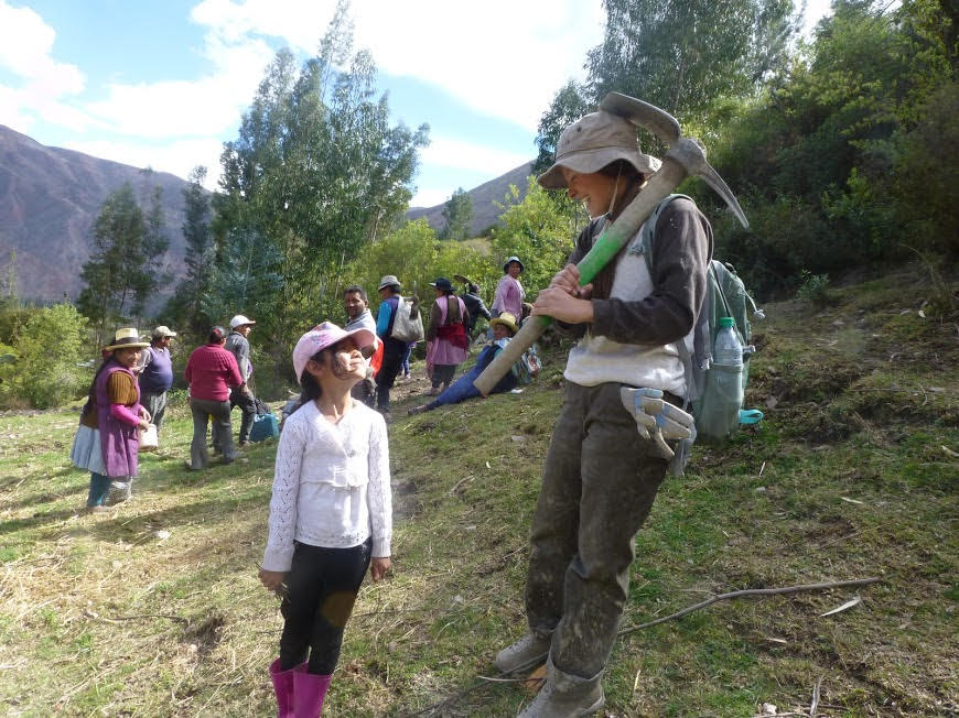 While in Peru for a service trip, PV junior Anna Urrea worked on cementing canals for the community. Here, she is with a local girl in Peru.