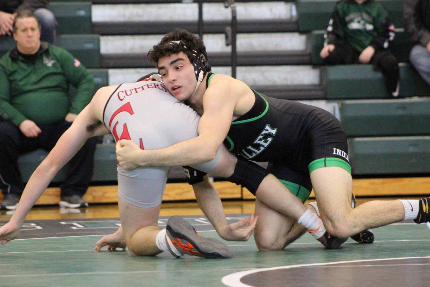 Pascack Valley senior Matt Beyer wrestles Fair Lawn's Aidan Fojon on Jan. 19.  Beyer is one of the favorites at the 152 weight class in the tournament