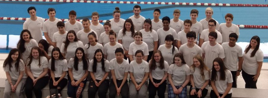 The+Pascack+Regional+swim+team+poses+for+a+photo.+The+girls+swim+team+came+in+sixth+place+in+the+county+tournament.+