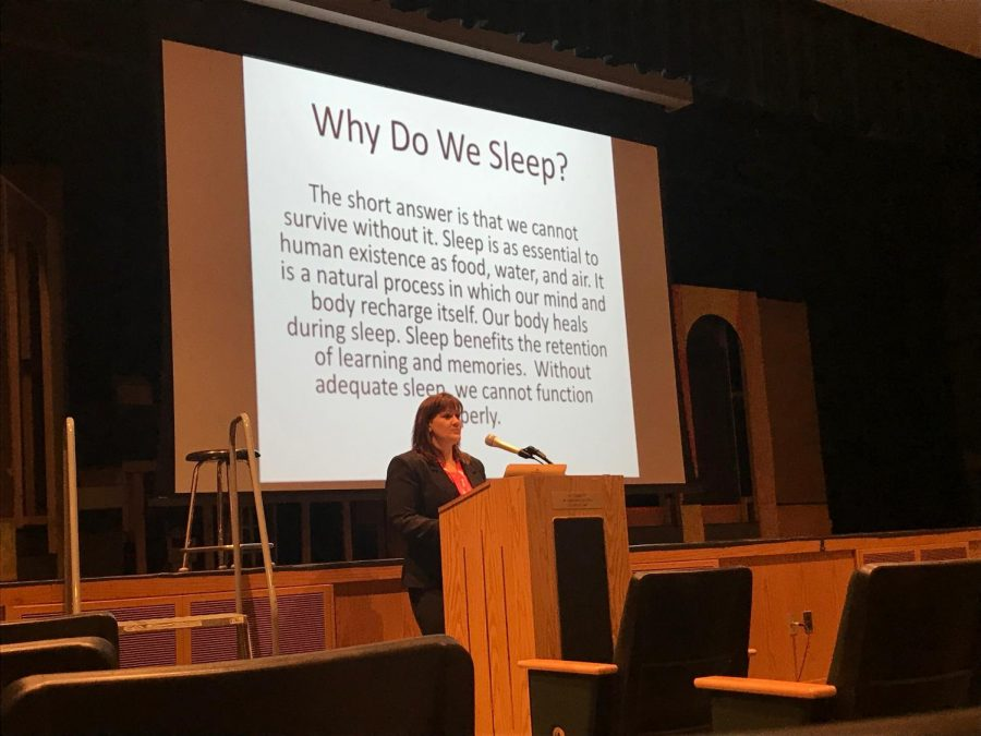 Alicia+Braine+visited+Pascack+Valley+on+Wednesday%2C+Feb.+6%2C+to+discuss+%22The+Teen+Sleeping+Crisis.%22+Honors+U.S.+history+II+and+psychology+teacher+Ryan+Walter+hosted+this+assembly+to+show+PV+students+how+sleep+impacts+daily+life.