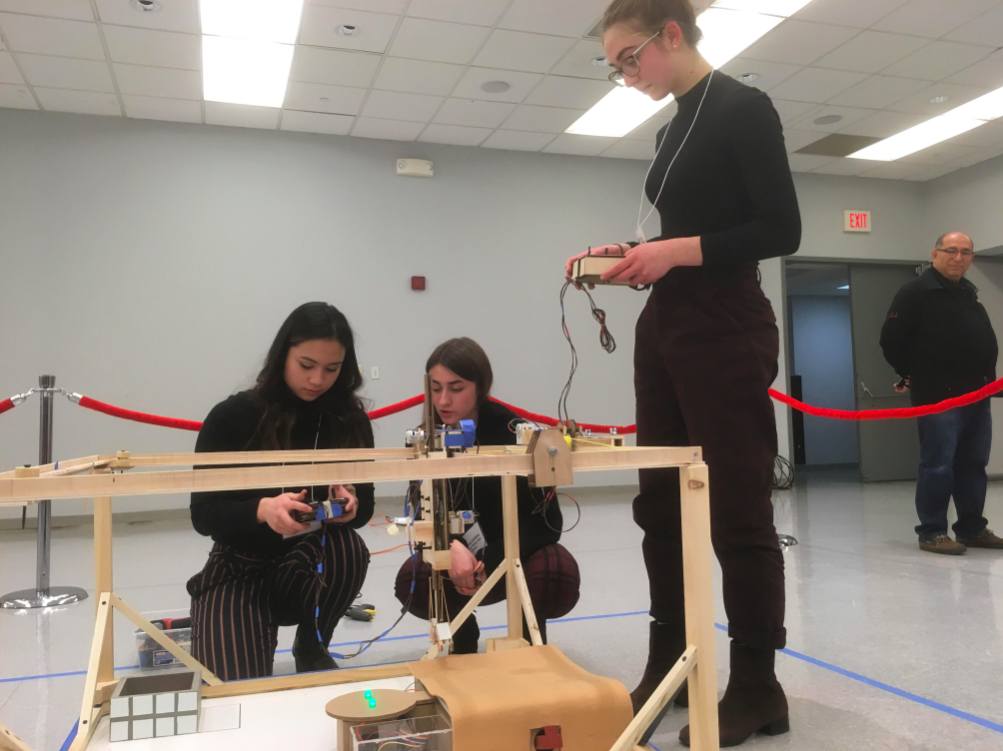 (From left to right) Seniors Bianca Belmonte, Brenna Collins, and Julia Guskind participated in this year's Panasonic Creative Design Challenge. The competition was hosted by the New Jersey Institute of Technology on Jan. 30.