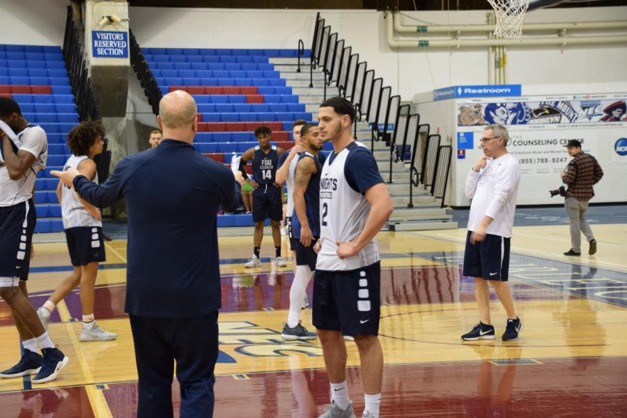 Greg Herenda coaches up his players during the open practice session. His team will be making its first appearance in the NCAA Tournament since 2016.