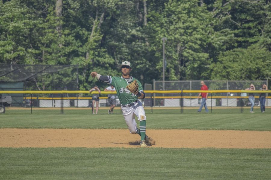 Justin Martin throws from shortstop for Pascack Valley. He will be playing in college at Sacred Heart after his high school career ends.