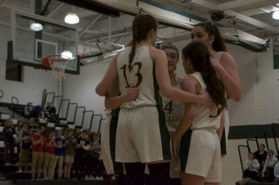 PV players huddle up during the game against Chatham. Valley fell to the Cougars in a three point overtime loss, and their season came to an end.