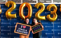 PV senior Kayla Barry and her future roommate smile at Ithaca College's accepted student day. In this week's Kayla's Korner, Barry discusses her anxieties with going to college next year.