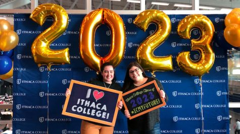 PV senior Kayla Barry and her future roommate smile at Ithaca College