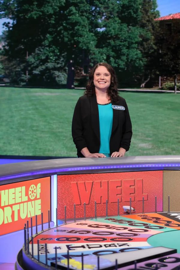 Pascack+Valley+math+teacher+Lauren+Johnson+stands+on+the+set+of+%22Wheel+of+Fortune.%22+The+episode+will+be+airing+Thursday+Night+on+Sept.+12+at+7%3A30+p.m.+on+Channel+7.